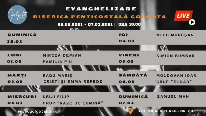 Săptămână de evanghelizare la Biserica Golgota Hunedoara