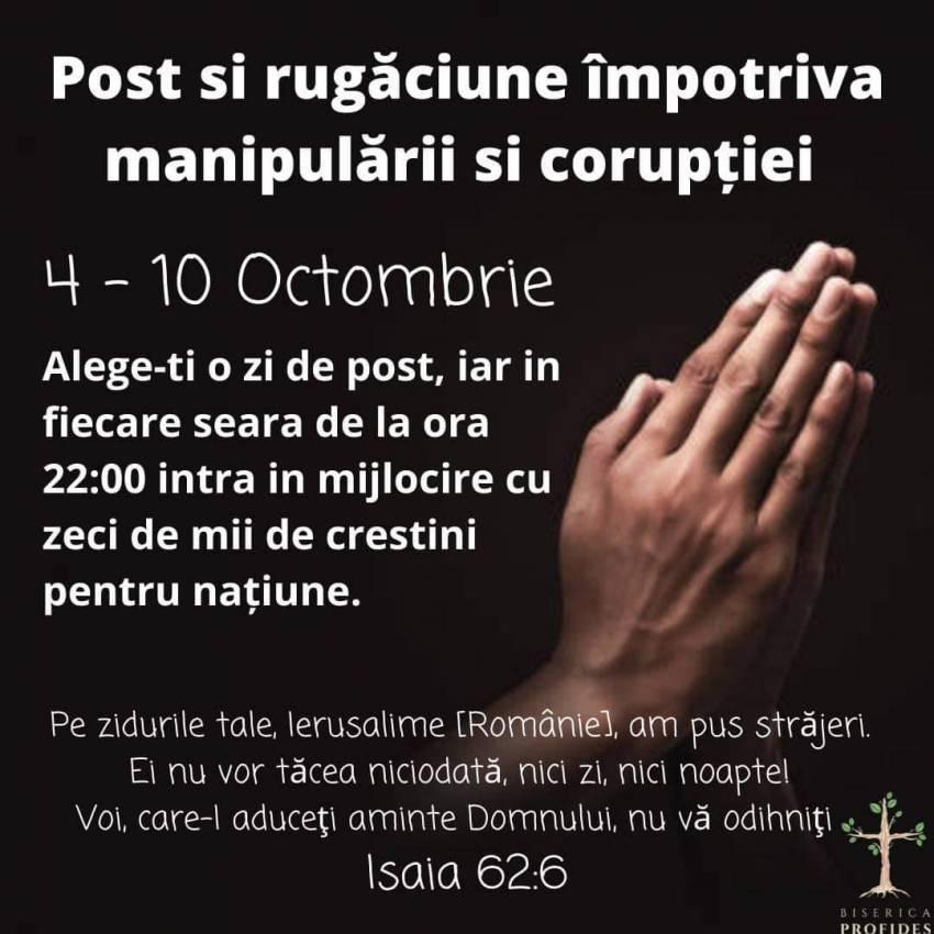Post și rugăciune contra manipulării si corupției…