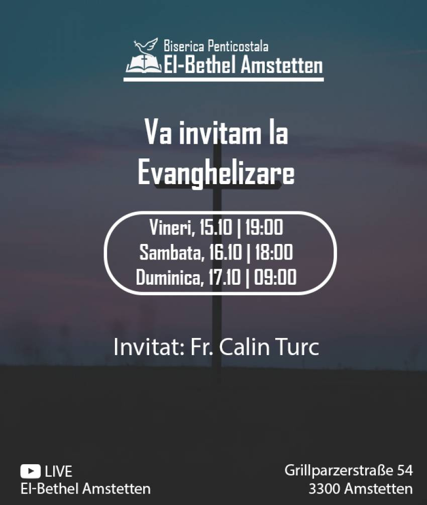Evanghelizare cu Călin Turc la Biserica El-Bethel Amstetten